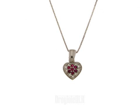 Gioiello per spose: cuore con zirconi rossi e bianchi