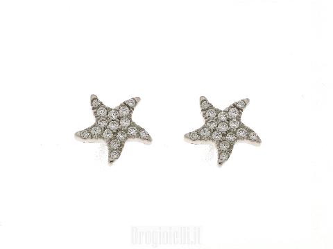 Orecchini donne stella marina con zirconi in oro bianco 18 kt CAMPI