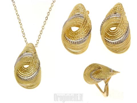Parure in oro bicolore 18 kt collana orecchini anello