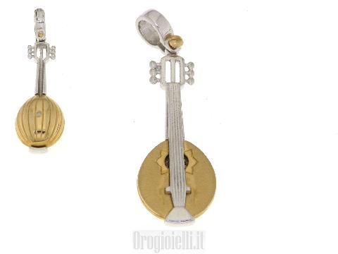 Pendente a forma di mandolino in oro