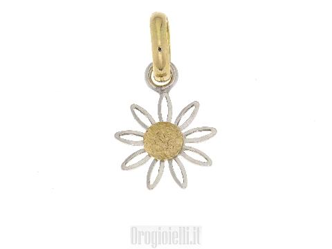 Pendente fiore in oro bicolore 18 ct