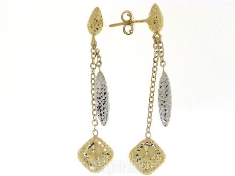 Orecchini Pendenti a 2 fili diamantati in oro