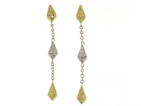 Orecchini oro donna Pendenti bicolori diamantati