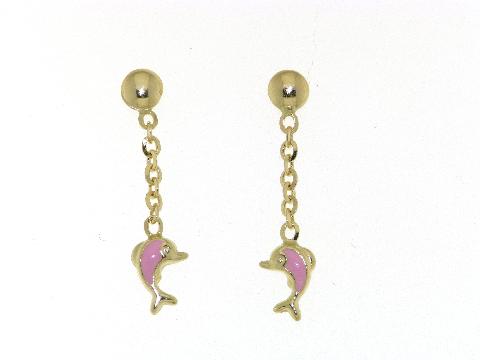 Gioielli in oro per bimbe Pendenti con delfino in oro smaltato