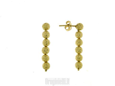 Orecchini Pendenti con sfere luccicanti in oro giallo