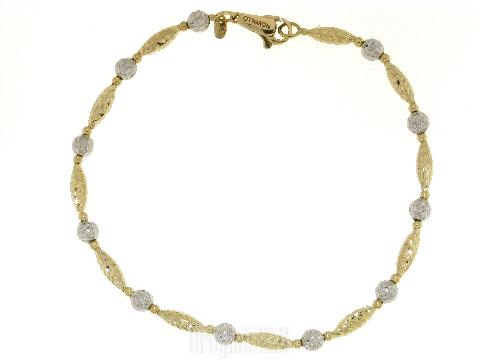 Bracciale artigianale donna oro Pepite e sfere diamantate