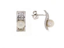 Perle di fiume e zirconi in oro bianco