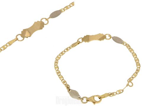 Braccialetti da neonato con piastra a fantasia in oro 750