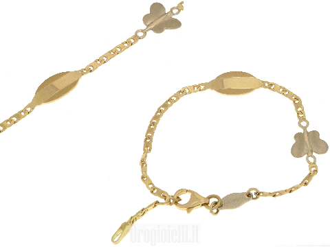 Piastrino e farfalla in oro bicolore