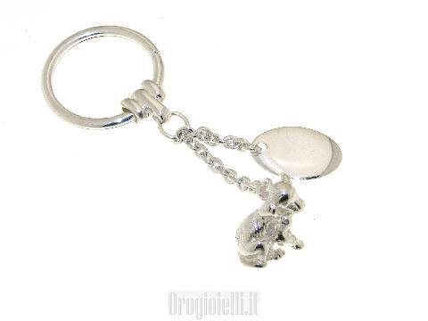 Portachiave in argento con cane