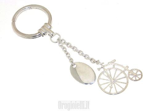 Portachiavi in argento con bicicletta