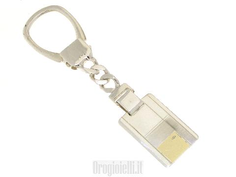 Portachiavi rettangolari argento ed oro