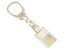 Gold Jewells: Keychain rectangular silver and gold