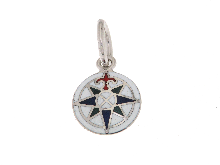 Gold Jewells: Wind rose enameled gold 18 ct