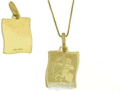 Ciondolo pergamena in oro con Sagittario in oro giallo satinato e lucido
