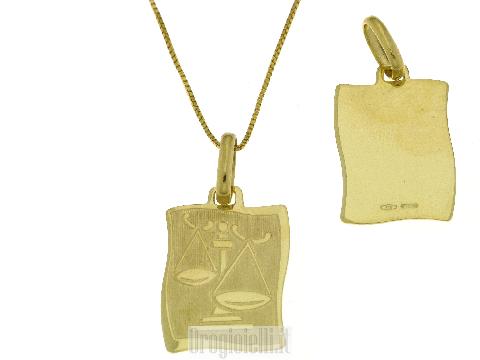 Medaglietta a pergamena con segno della Bilancia in oro 18k