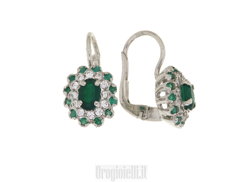 Emeralds and cubic zirconia earrings in