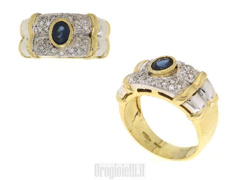 Solitario con zaffiro e diamanti in oro