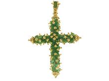 Splendida croce con smeraldi in oro