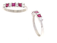 Gold Jewells: Eternity with synthetic rubies in gold