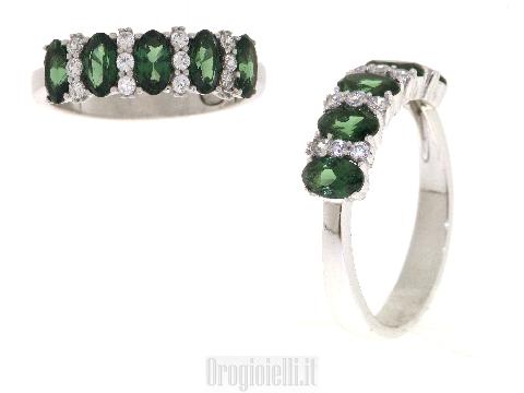 Veretta con smeraldi sintetici in oro